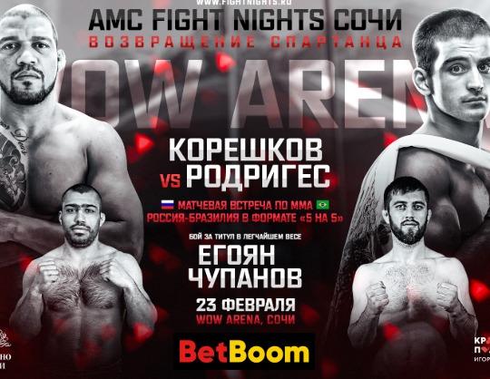 """Международный турнир по смешанным единоборствам """"AMC Fight Nights Сочи"""""""